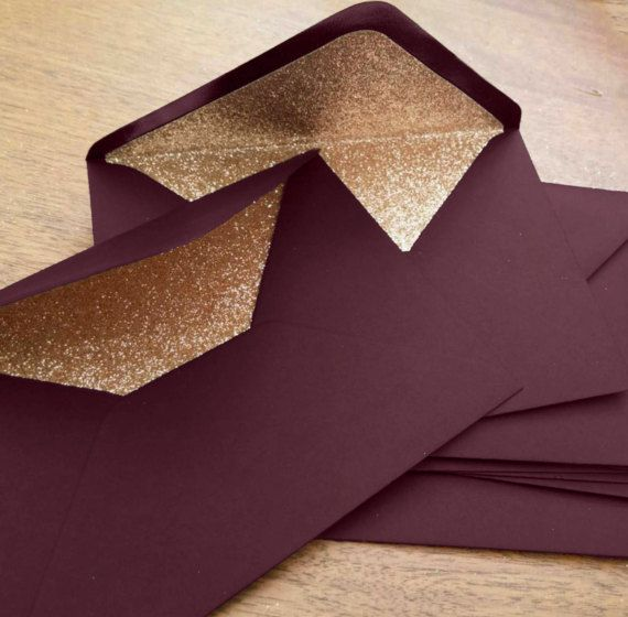 Marsala and Rose Gold Glitter Lined Wedding Envelopes (10 in A6 / C6)