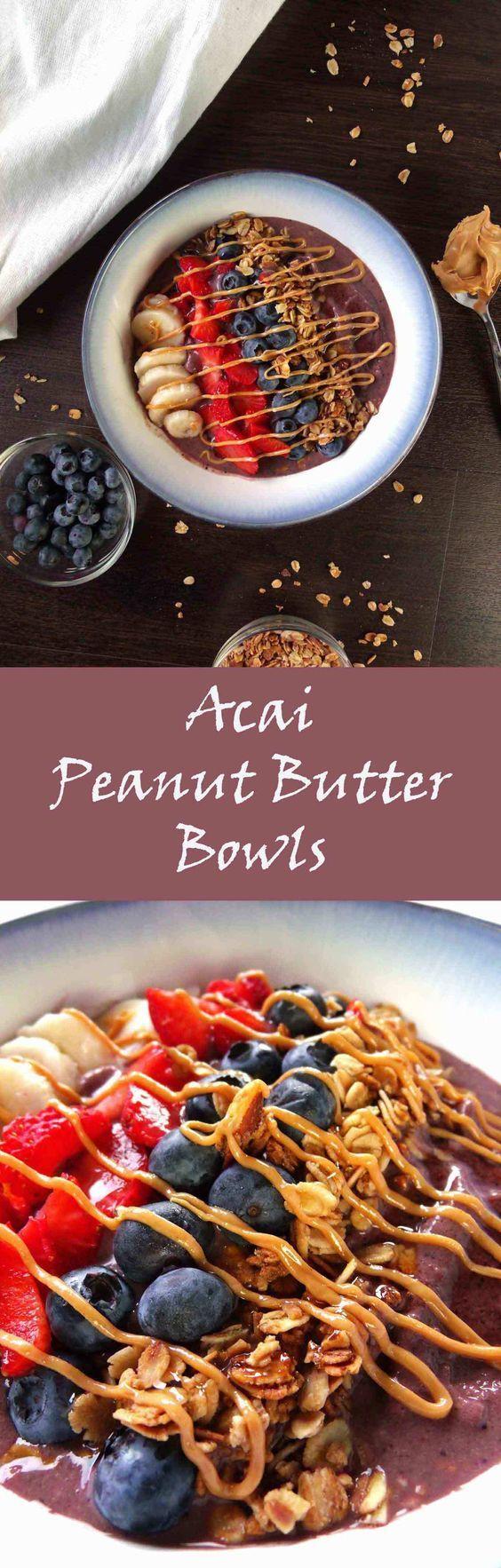 Acai Peanut Butter Bowl | Acai Bowl | Smoothie Bowl | Protein Shakes | Protein Smoothies | Granola