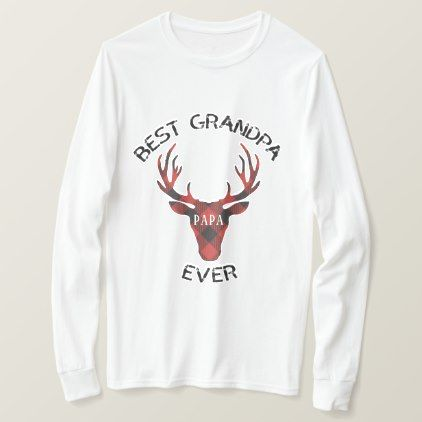 Best Grandpa Ever Red Buffalo Plaid  Stag T-Shirt - Xmas ChristmasEve Christmas Eve Christmas merry xmas family kids gifts holidays Santa