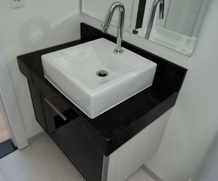 Exemplo com granito preto  Reforma do Banheiro  Inspirações  Pinterest -> Banheiro Decorado Com Granito Preto
