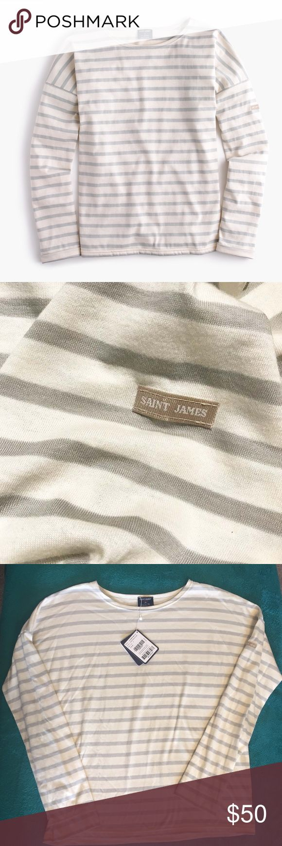 """Saint James® for J.Crew slouchy T-shirt NWT/ SIZE & FIT Loose fit. Body length: 23 3/4"""".  PRODUCT DETAILS Saint James has been spinning some of the world's finest knits out of its Normandy-based factory since 1889 and has become famous for its Breton shirt, a nautical-inspired style featuring classic stripes. Designed exclusively for us, this airy cotton version features a roomy body and slimmer sleeves.   Cotton. Machine wash. Made in France. Item A1931. J. Crew Tops Tees - Long Sleeve"""