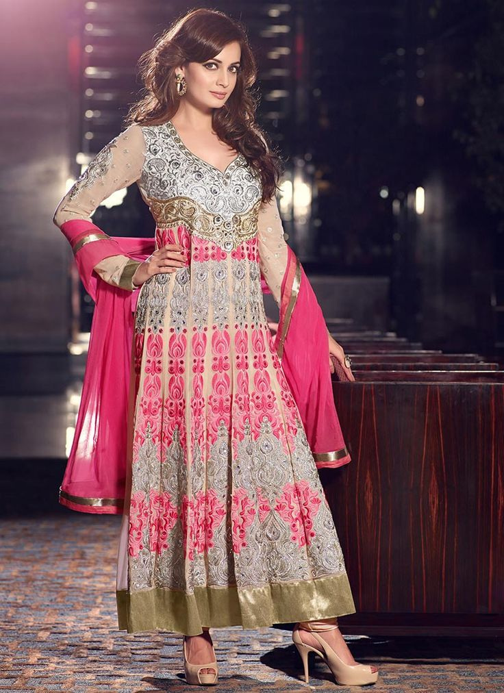 Cbazaar Pink Diya Mirza Ankle Length Anarkali