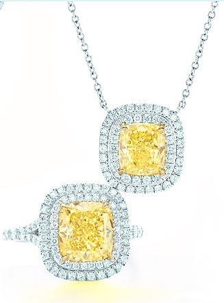 Tiffany & Co. Fancy yellow diamond ring and necklace set