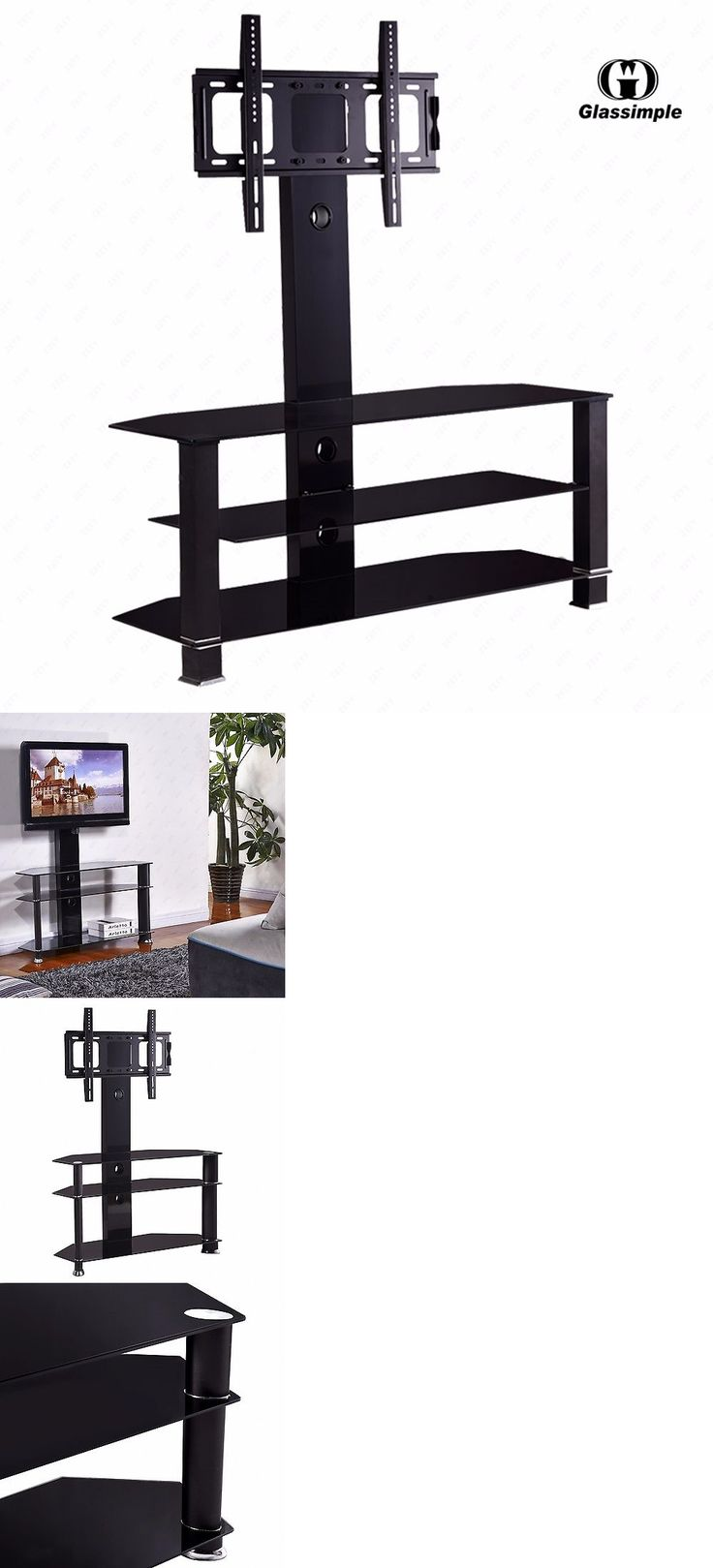 Home shop live tv stands chunky stretch tv stand - Tv Mounts And Brackets Cantilever Tempered Glass Black Tv Stand W Bracket For 32