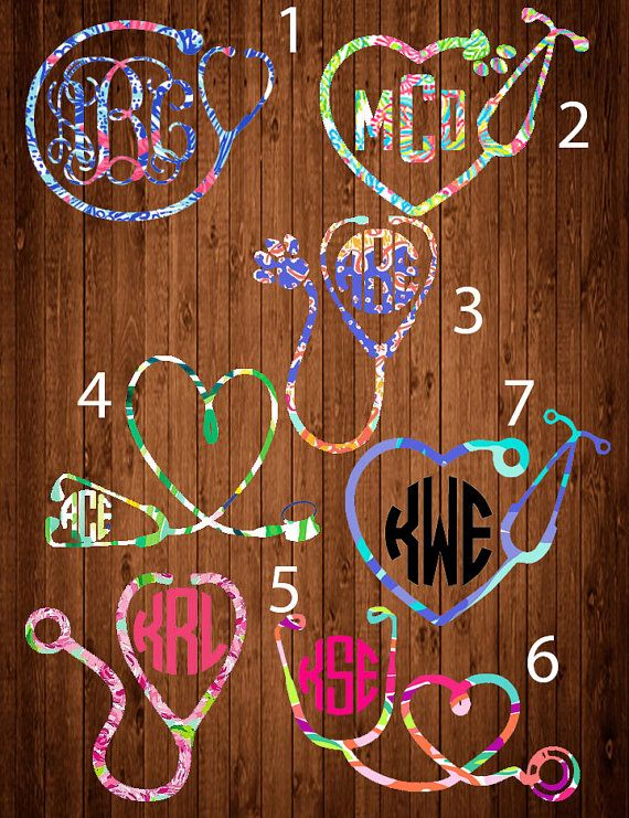 Lilly Pulitzer Stethoscope Monogram Decal Lilly Pulitzer