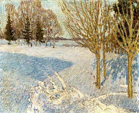 Paysage d hiver, huile sur toile de Igor Emmanuilovich Grabar (1871-1960, Hungary)