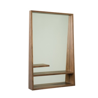 Dwell campbell mirror with shelves home decorating for Full length mirror with shelf
