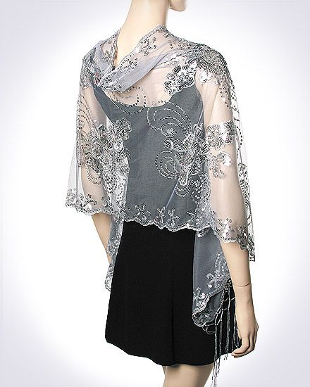 Stunning silver evening wrap on sale $36.00 for your evening dress / gown so you look beautiful and elegant.
