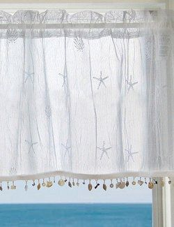 Beach Cottage Sheer Curtain Panels with shells or beach glass fringe