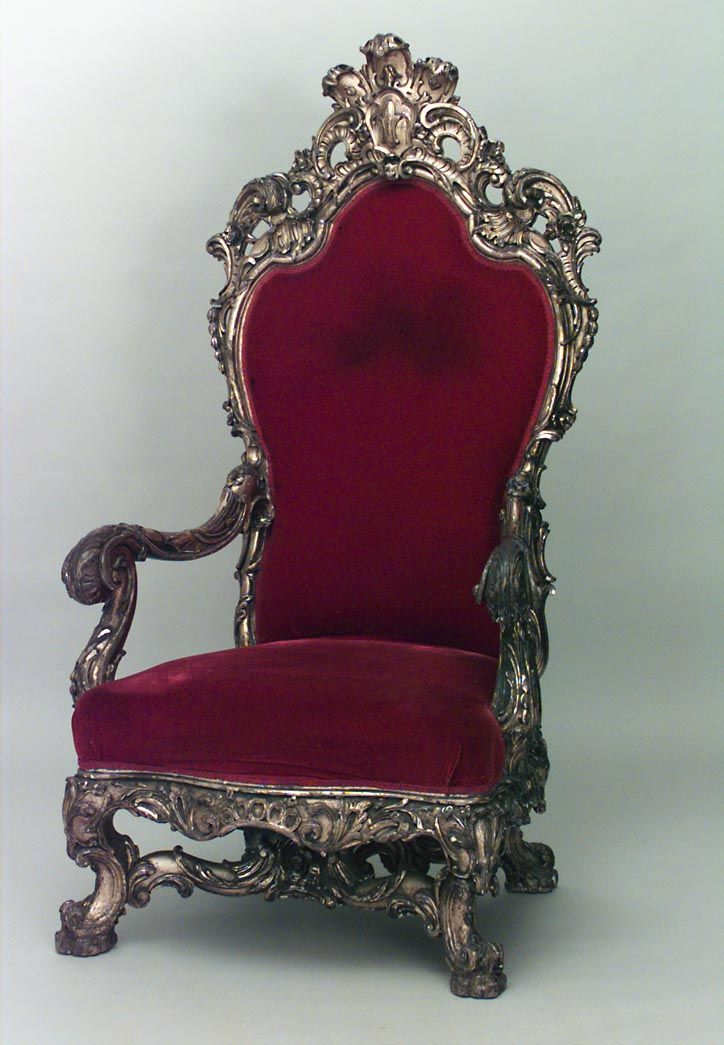 French Regence style 19th Cent gilt throne chair with carved back crest and stretcher with red
