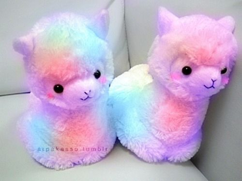 Rainbow alpaca plushies<<<I DIDN'T KNOW I NEEDED THESE BUT I DO
