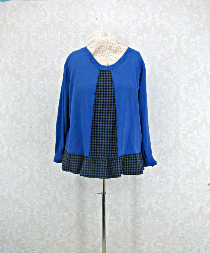 2X Tunic,Plus Size Clothing,Upcycled Sweater,Royal Blue Top,Boho Clothing,Eco Fashion,Recycled Sweater,Oversized Tunic by RepurposeCouture on Etsy