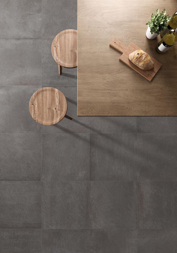 Cucina con piastrelle in gres porcellanato effetto cemento. colore Dark Collezione Carnaby:  http://www.supergres.com/your-home/pavimenti/item/571-carnaby  #gres #EffettoCemento #ConcreteLook #CeramicsOfItlay