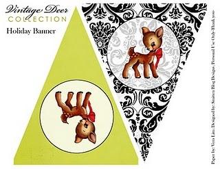 Free Vintage Deer Party Kit (http://smittenblogdesignspartyprintables.blogspot.com/2010/12/free-vintage-deer-cupcake-toppersgift.html)
