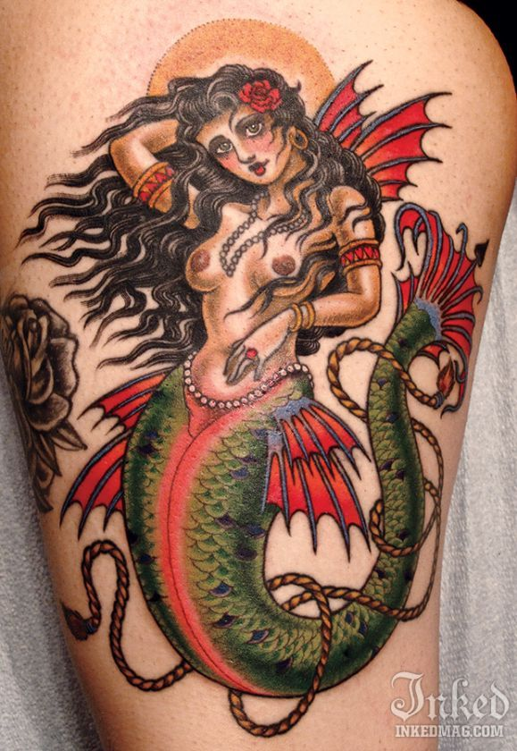 17 best images about projects to try on pinterest for Traditional mermaid tattoo