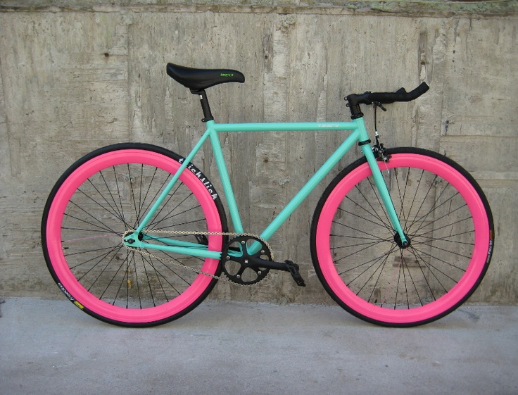 Green track bike... I love the color combination, even though I don't like pink all that much.