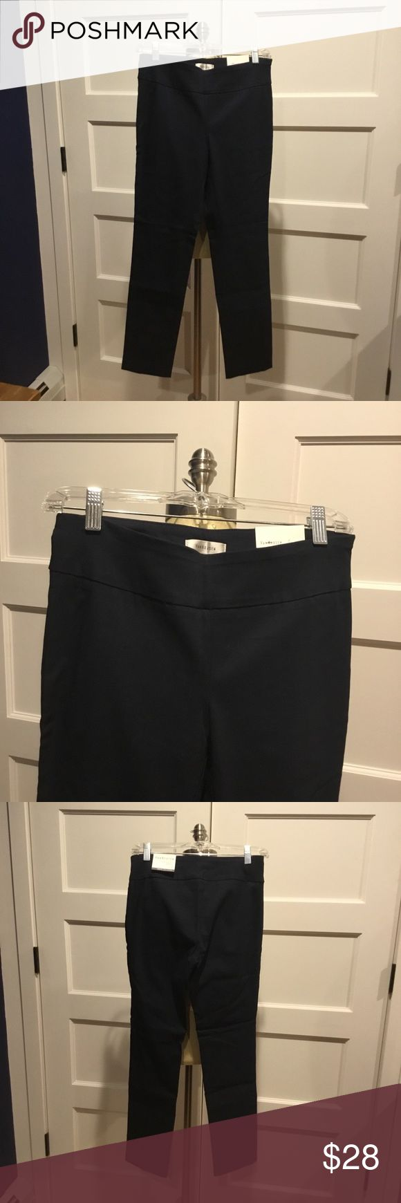 Van Heusen Dress Pants These navy blue dress pants are perfect for a day at the office, or any event where you need to be dressed business casual. They are stretchy at the top with no button or zipper. You just slip them on! They're brand new, size 2 short. Van Heusen Pants