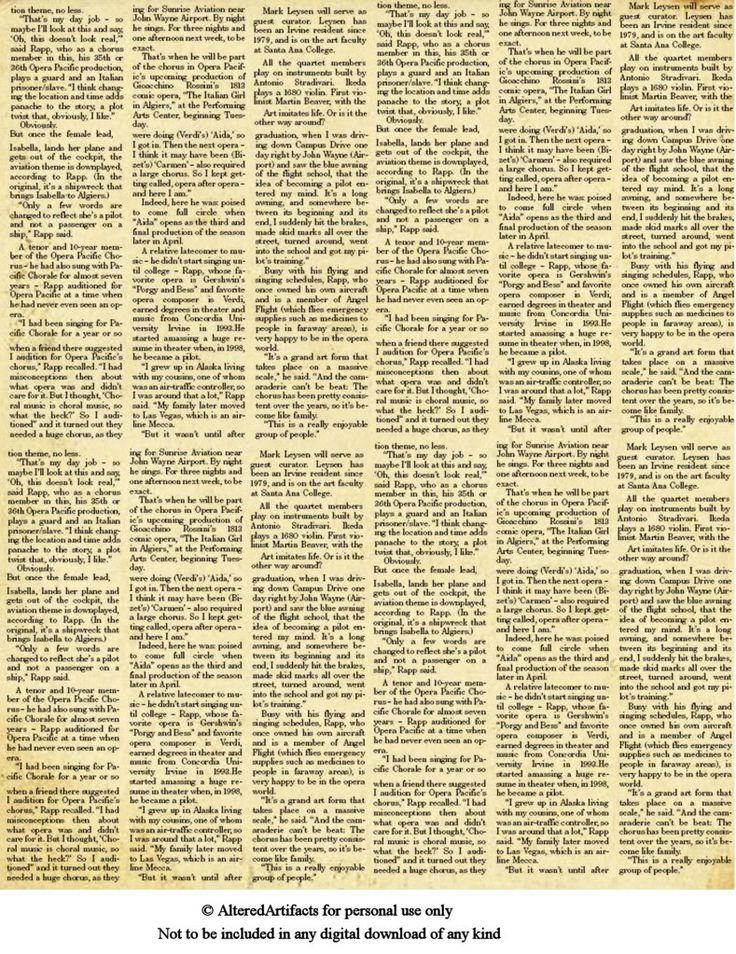 ALTERED ARTIFACTS: Free Printabels ... Newpaper & Ledger