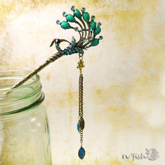 Hair Stick  Hair Pin Oriental  Aqua Blue Gemstone by nfishshop