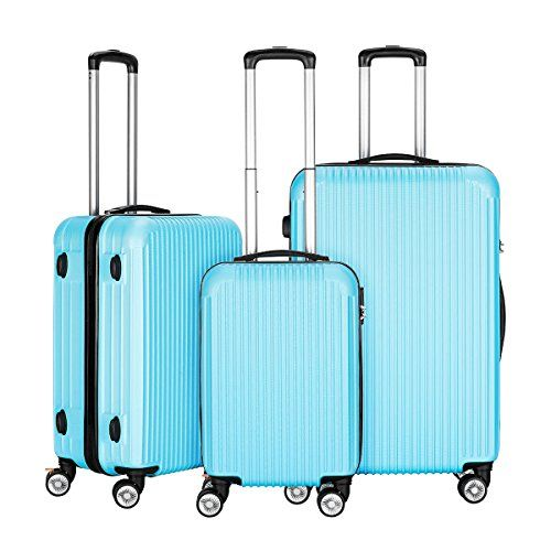 InnerTeck 3 Piece Luggage Set Spinner Hardshell Lightweight Suitcase Set – Blue