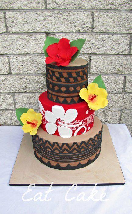 Tapa Print and Hibiscus - by KiwiEatCake @ CakesDecor.com - cake decorating website
