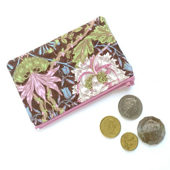 Coin Purse // Lipstick Holder // Earbud Pouch // Small Zipper Pouch - Pink Brown Floral