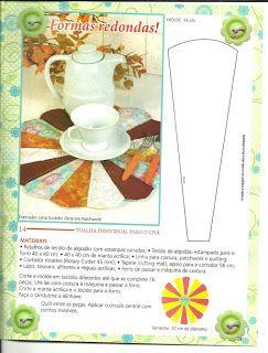 Mug Rug tapete para caneca em patchwork redondo com molde