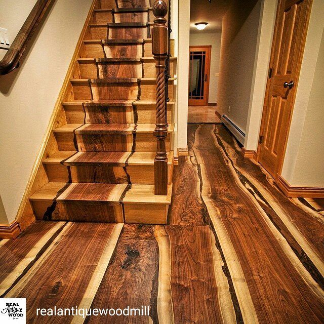 Excellent hardwood flooring job by @realantiquewoodmill out of black walnut. I especially like the use of sap wood, and it reminds me of bacon   #woodworking #flooring #decor #homedecor #design #home #carpentry #lumber #walnut #diy #diyproject #woodwork #woodworker #construction