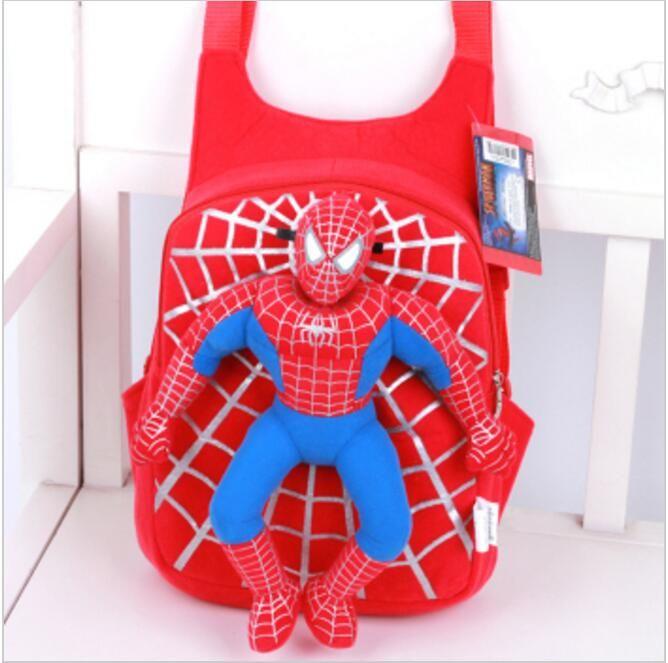 2016 new children cute 3D Spiderman backpack baby schoolbag for boys girls cartoon Spider-man bags Kids Plush mochila infantil