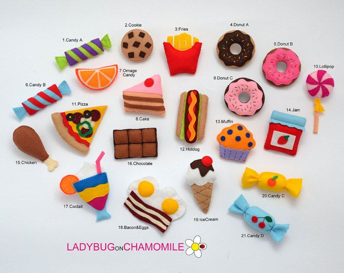 COMIDA fieltro imanes - elegir que tus artículos - precio por 1 artículo - hacen tu propio juego - imanes dulces, pastel de fieltro, dulces, pizza fieltro imán,