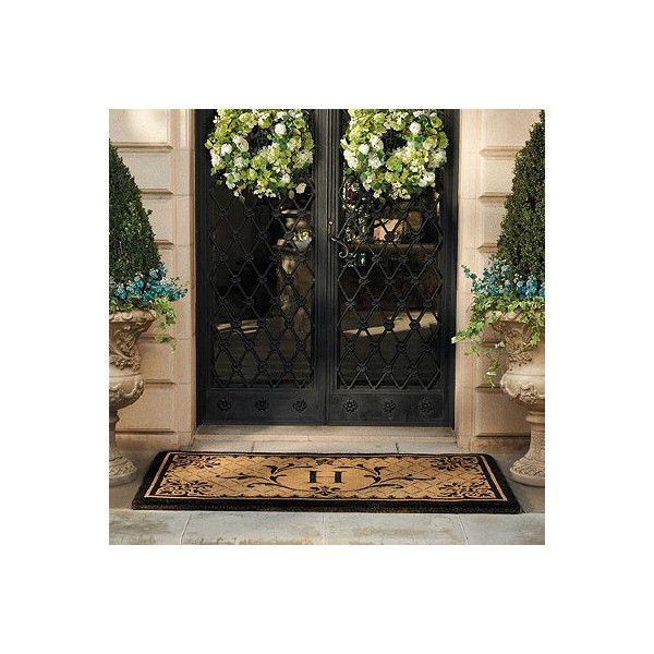 "Monaco Monogrammed Coco Door Mat - A, 36"" X 72"" (€160) found on Polyvore featuring home, outdoors, outdoor decor, entry mats, outdoor enhancements, outdoor garden decor, monogrammed door mat, outdoor doormats, personalized outside door mats and monogram doormat"