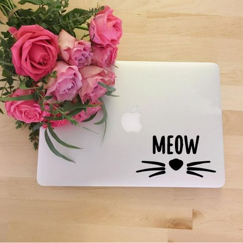 Cute cat Macbook Decal Stickers Macbook Pro by JeffTheRaccoon