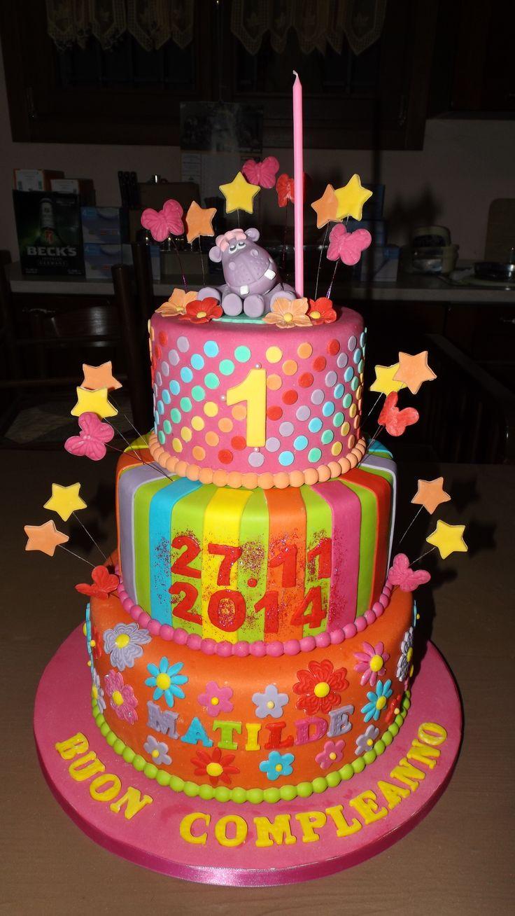 Torta primo compleanno con ippopotamo per bambina...First Birthday Cake for Girl.