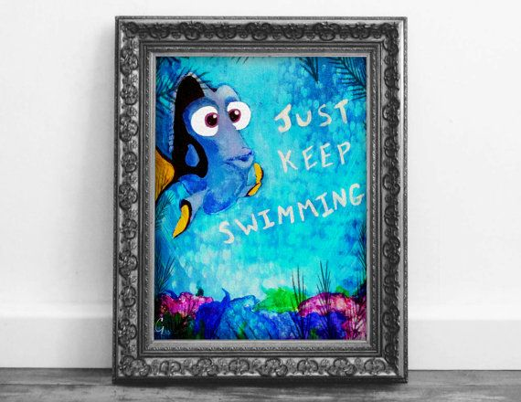 Dory Just Keep Swimming Wall Art Disney Movie by RGIllustrated