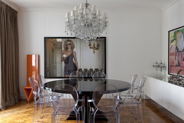 Diego Revollo Sao Paolo stylist apt dining room contemporary photography ghost chairs art
