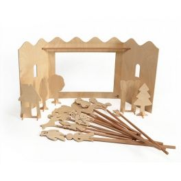 Toy for self-decoration, allows enacting theatre plays, consists of a scene, 5 pcs of scenography figures, 13 pcs of  37cm moving figures on the sticks, 8pcs of poster paints, brush and the elements necessary for self-assembly. Made by Neo-Spiro.