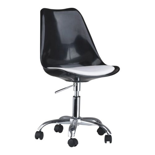 Plastic Desk Chair Modern Black Wheeled Gas Lift Tulip Office Chair Swivel Office