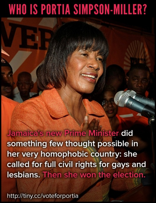 Who is Portia Simpson-Miller? #Jamaica's new Prime Minister did something few thought possible in her very homophobic country: she called for full civil rights for #gays and #lesbians. Then she won the election.