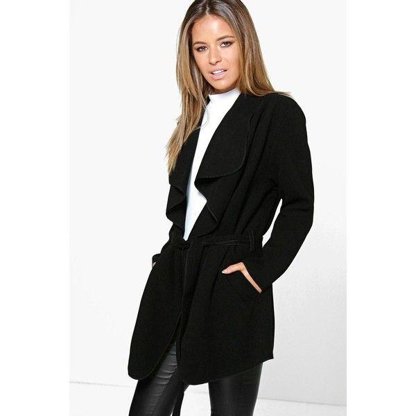 Boohoo Petite Petite Holly Waterfall Coat ($44) ❤ liked on Polyvore featuring outerwear, coats, black, black waterfall coat, petite puffer coat, petite raincoat, rain coat and mac coat