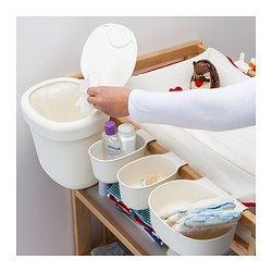 IKEA - ÖNSKLIG, Behälter 4er-Set, , Durch die Behälter in verschiedenen Größen lässt sich alles, was man beim Windelnwechseln braucht, übersichtlich und griffbereit ordnen.Die Behälter lassen sich an der Wickeltischkante einhängen: praktisch und Platz sparend.Der Eimer kann an der Wickeltischkante eingehängt oder auf den Boden gestellt werden.Die Haken sind praktisch zum Aufhängen von Handtüchern, Waschlappen oder Schlafanzügen. Sie lassen sich an der Tischkante oder an der Wand anbringen.