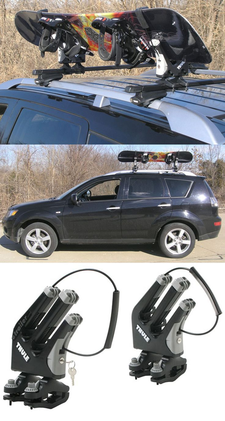 Thule snowboard rack with locks. Free up some more space on the roof for skis or a cargo box with this rack - fully adjustable to accommodate all board sizes. Securely efficiently transport your gear to and from the slopes.