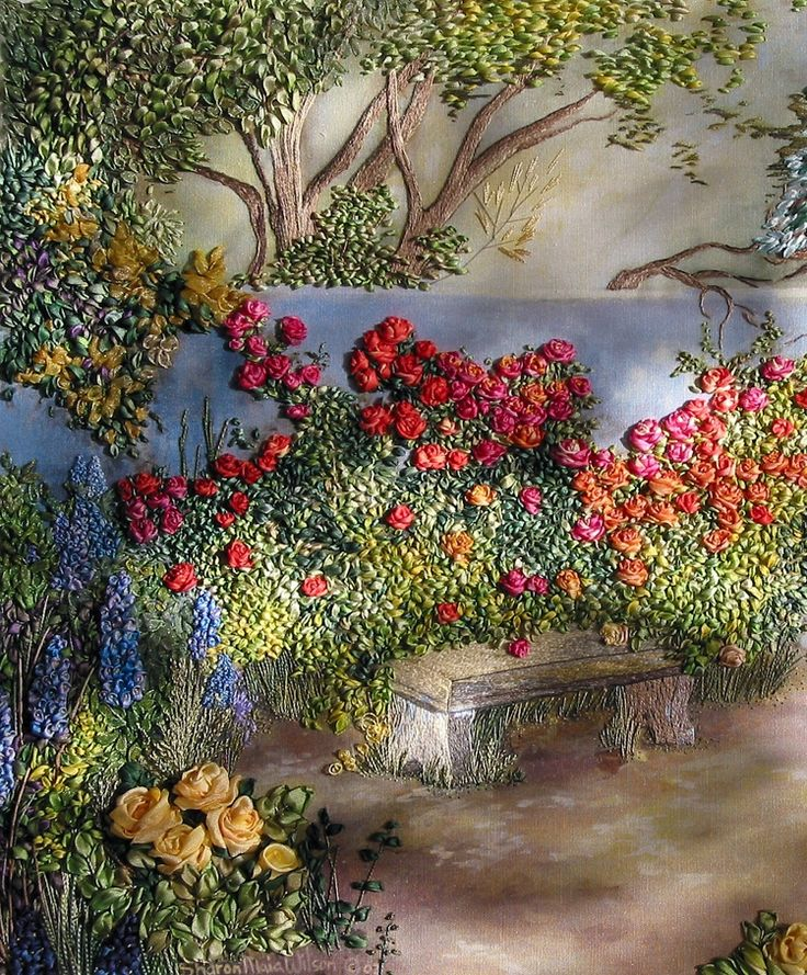 Stop and smell the roses by Olga Smirnova from St. Petersburg, Russia. A work of art in silk ribbon.