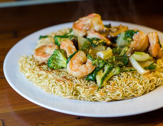 Shrimp Chow Mein with Crispy Noodles... I think this might just be the sauce that Sea Garden uses! Will have to try this