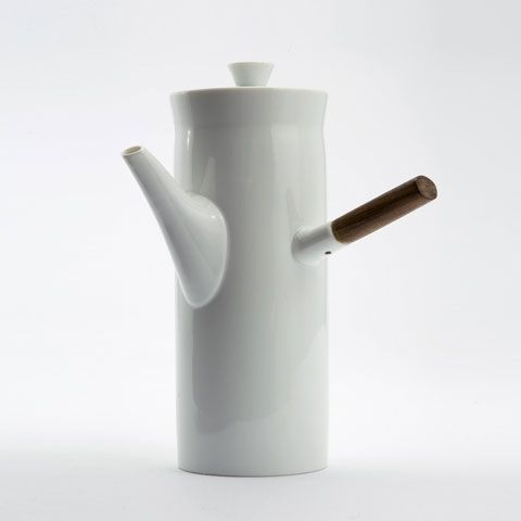 Extra large ceramic coffee pot with wooden handle for Freeman Lederman.