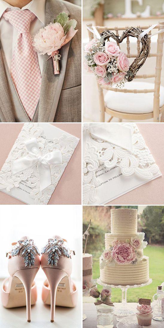Vintage pink wedding inspiration from B Wedding Invitations @weddingchicks