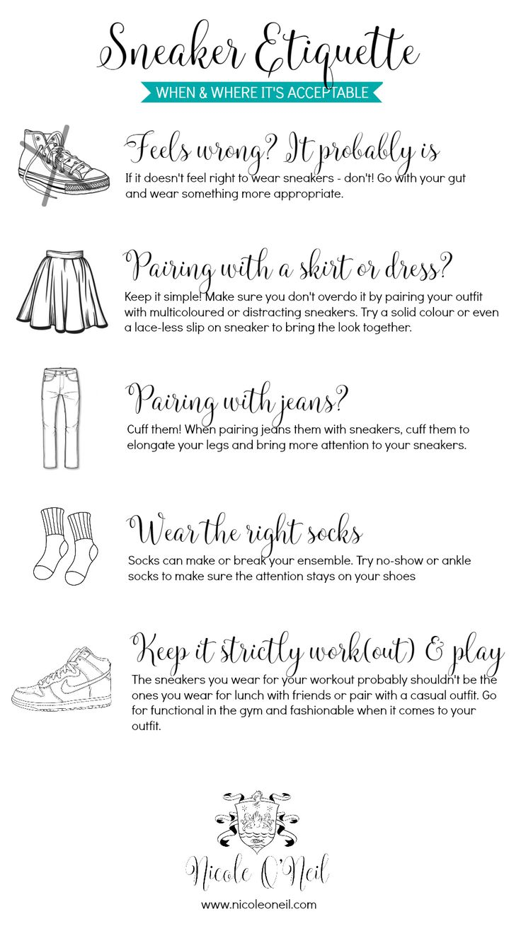 Sneaker Etiquette Rules: When is it acceptable to wear sneakers? Ensure you don't make a fashion faux paux and learn how to put together the perfect sneaker outfit - whether you're going for cute, classy, casual or functional.