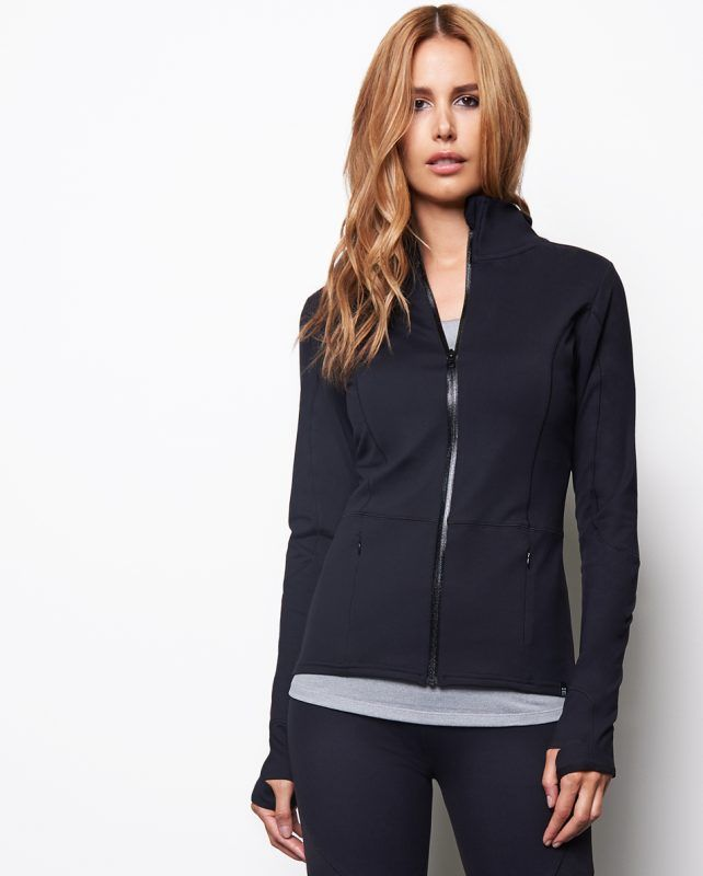 NEW: NAT HIGH NECK PERFORMANCE JACKETM Active's Nat Performance Jacket is an essential for any activewear wardrobe.  With its sleek design and flattering interlock panel lines, this style offers support and comfort, as well as a slimming silhouette. Statement fashion trims and heavier weight M-Power fabric means this high neck jacket will keep you workout ready in all seasons.