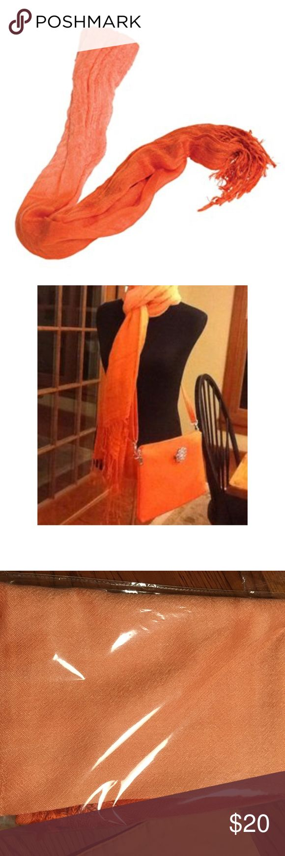 "Grace Adele Orange Ombre Scarf - NIB Wrap yourself up in chic, cozy style with this fringed ombre scarf by Grace Adele.  This is the final layer to your ensemble for warmth and style.  Smoke free home.  69"" long.  27 1/2"" wide.  3 1/2"" fringe.  All measurements are approximate. Grace Adele Accessories Scarves & Wraps"