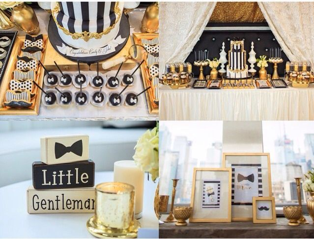Gold and black Little Gentleman baby shower