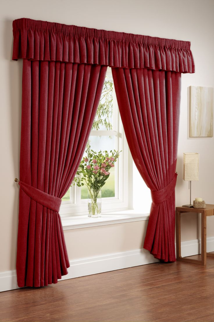 Beautiful Curtain Design For Stylish Interior Design: Cool Red Curtain  Designs Pink Flower Glass Vase